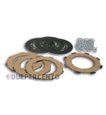 Dischi frizione MALOSSI MHR per frizione 6 molle, 4 dischi sughero, 3 infradischi, 6 molle rinforzate per Vespa PX125-150/ GTR/ TS/ Sprint/ GL/ VNB/ VBA/ LML125-150