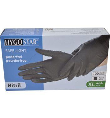 Guanti HygoStar Safe Light, nero, unisex, misura: XL, Nitril, 100 pezzi