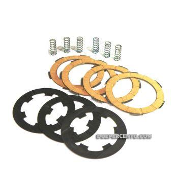 Dischi frizione FA ITALIA per frizione 6 molle, 4 dischi sughero, 3 infradischi, 6 molle rinforzate per Vespa PK50/ S/ SS/ XL/ XL2/ FL/ HP/ N/ Rush/Ape