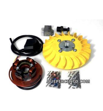 Accensione elettronica PARMAKIT, 2,4 Kg, volano integrale, ventola gialla, per Vespa PX125-200/ P200E/ Lusso/ Cosa/ 125 GTR/ TS/ 150 Sprint Veloce/ 200 Rally