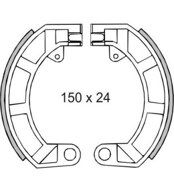 "Ganasce freno posteriore FERODO 10"", d150x24  Vespa 50/ 50 Special/ ET3/ Primavera/ PK50/ Super"