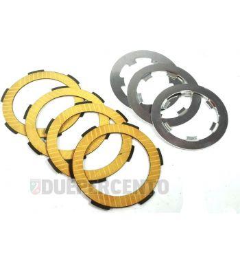 Dischi frizione FABBRI RACING per frizioni 8 molle, 4 dischi sinterizzati gialli, 3 infradischi per Vespa 50/ 50 Special/ ET3/ Primavera/ PK50-125/ HP/ Ape
