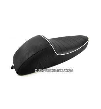Sella sportiva CORSA in ABS rivestita in sky nero e bordata in bianco per Vespa GTR/ TS/ Sprint/ VBA/ PX125-150/ PE200/ MY