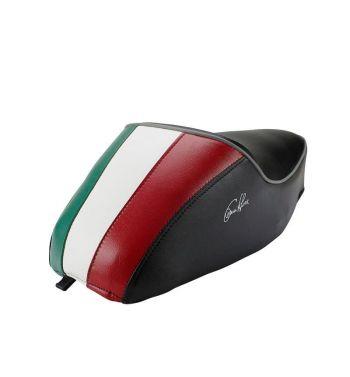 Sella VESPA 50 SPECIAL tricolore su fondo nero