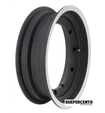 Cerchio in lega tubeless 3.00-11 per Vespa PX125/150/200, T5 - NERO BORDO ALLUMINIO LUCIDO