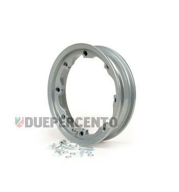 Cerchio in lega tubeless Octopus FA ITALIA 2.10-10 grigio metalizzato per Lambretta 125 LI/Special/GP/DL/150 LI/Special/SX/GP/175 TV/200 TV/SX/GP/DL