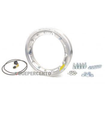 Cerchio in lega TUBELESS PINASCO 2.10-10 scomponibile alluminio lucido per Vespa 50/ 50 special/ ET3/ PX125-200/ P200E/ Rally 180-200/ T5/ GTR/ TS/ Sprint