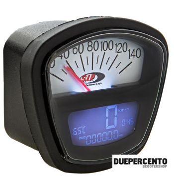 Contachilometri e contagiri SIP 2.0 per Lambretta DL/GP/LI /SX/TV - 140 (km/h/mph) / 14.000 (Umin/rpm), FONDO BIANCO