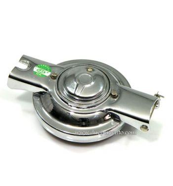 Tappo serbatoio cromato con serratura a chiave per Vespa PX 125-200/ P200E/ Rally180-200/ T5/ GTR/ TS/ Sprint/ GL/ VBB/ VNB