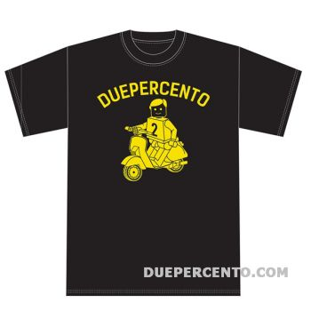 Maglietta DUEPERCENTO logo giallo - NERA - XL